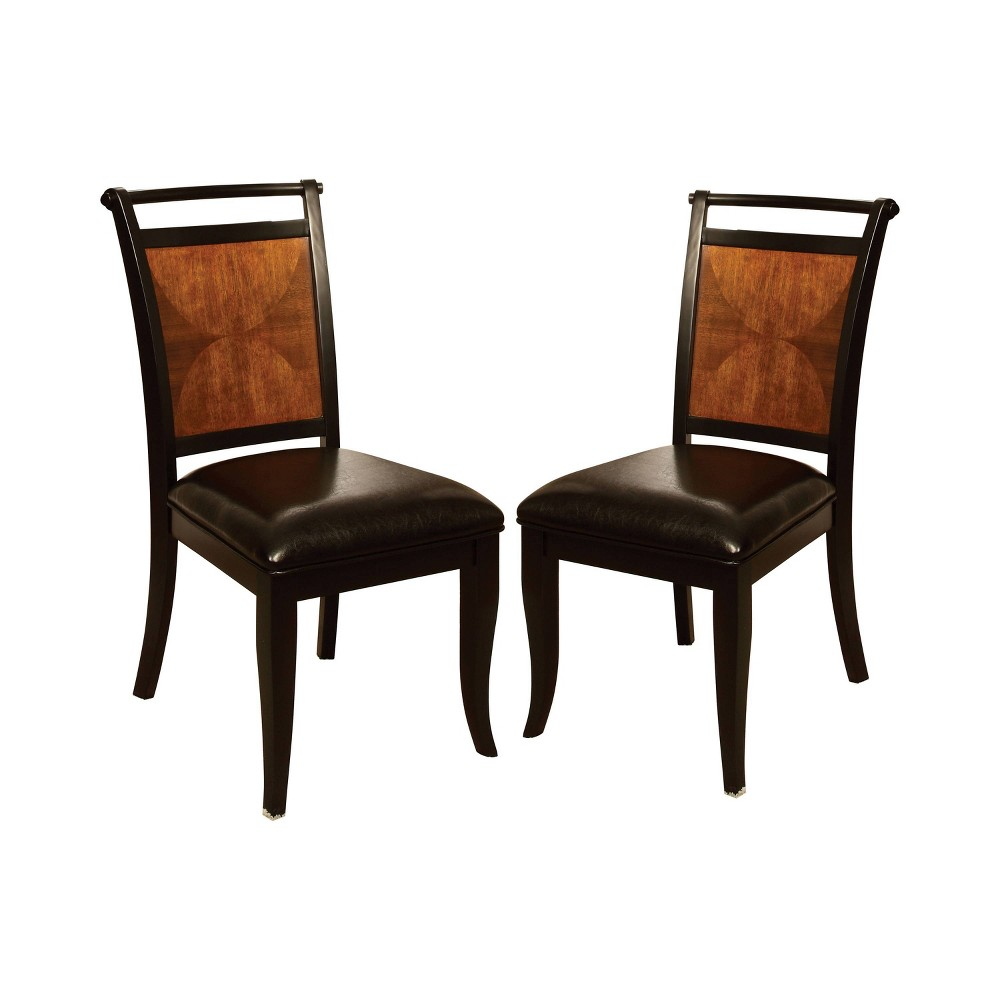 Set of 2 Cranston Top Back Bar Padded Leatherette Side Chair Acacia/Black - Sun & Pine
