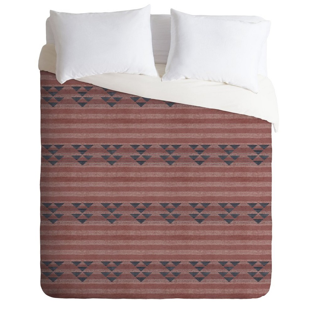 King Holli Zollinger Geometric Stripe Duvet Set Red - Deny Designs