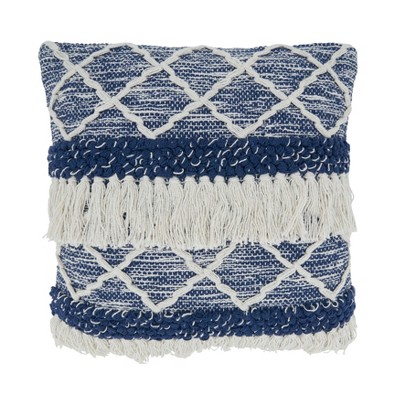 """18""""x18"""" Poly-Filled Moroccan Design Square Throw Pillow with Fringe Navy - Saro Lifestyle"""