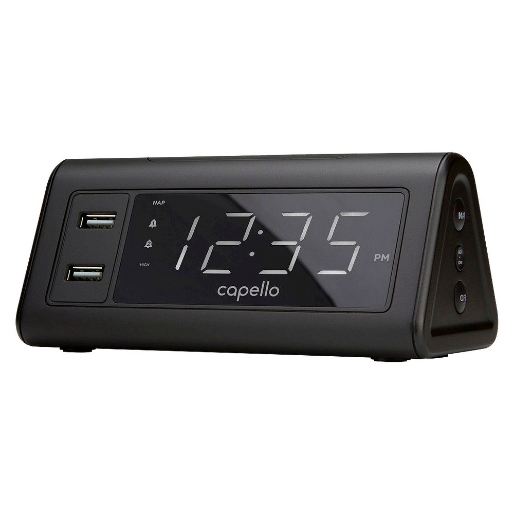 Image of Digital Alarm Clock with 2 USB Ports Black - Capello