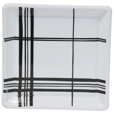 Multicolored Plaid Metal Decorative Storage Trinket Tray with Ball Feet - Foreside Home & Garden