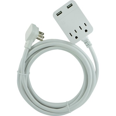 General Electric 12' 2.4A 2 USB 2 Outlets Surge Extension Cord White