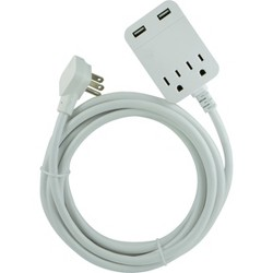 General Electric 12' 2.4A 2 USB 2 Outlets Cordinate Surge Extension Cord White