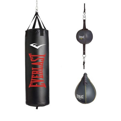 Everlast Home Gym Equipment 3 Piece Set 100 Pound Heavy Bag, Speed Bag and Double End Bag, Black