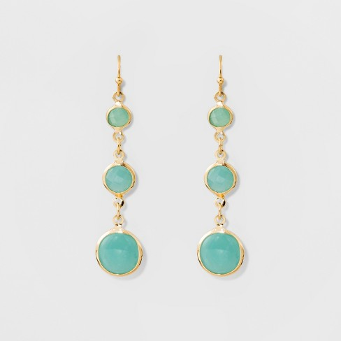 3 Channels Fish Hook Earrings - A New Day™ Mint Green/Gold - image 1 of 3