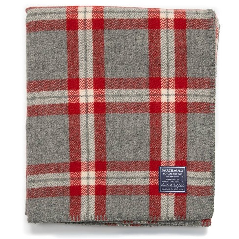 "50""x72"" Minnehaha Falls Throw Blanket Gray/Red Plaid - Faribault Woolen Mill - image 1 of 3"