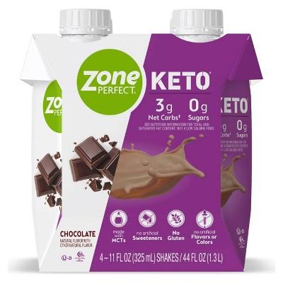 Zone Perfect Keto Ready To Drink Shake - Chocolate - 4pk/44 fl oz
