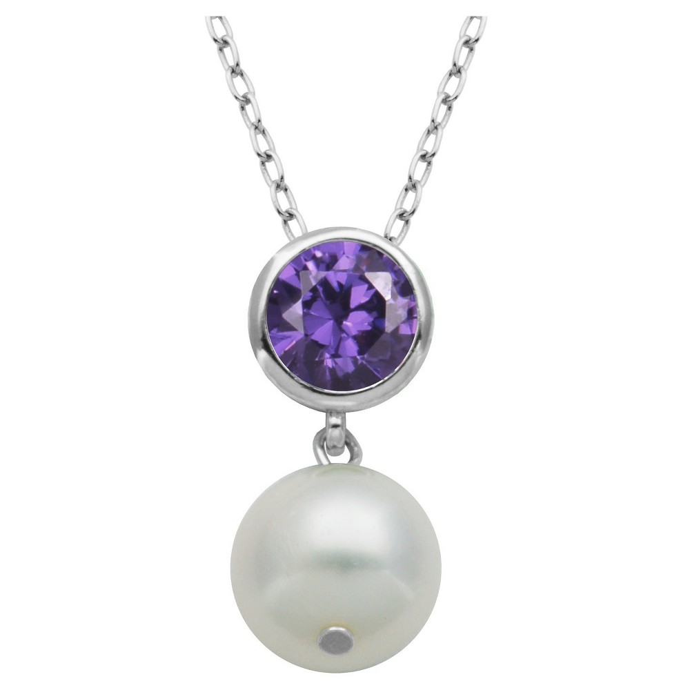 Genuine White Pearl and Amethyst Pendant Necklace with 18 Chain, Girl's, Silver/Amethyst