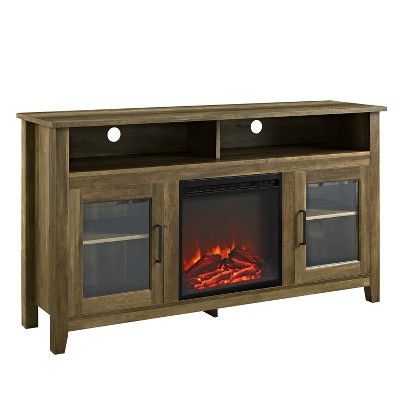 58  Wood Highboy Fireplace TV Stand Rustic Oak - Saracina Home