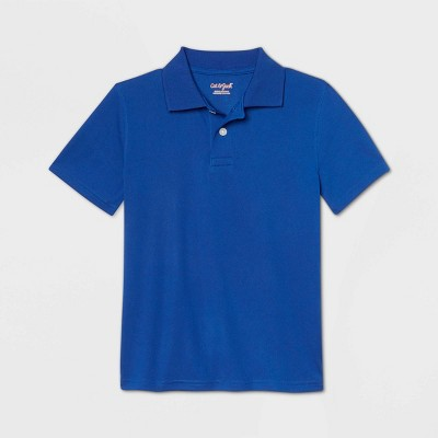 Boys' Short Sleeve Performance Uniform Polo Shirt - Cat & Jack™ Bright Blue