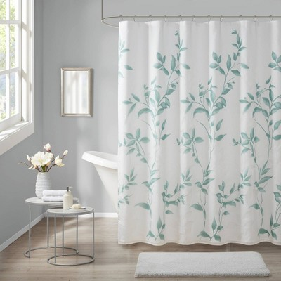 Rosalie Burnout Printed Shower Curtain Seafoam