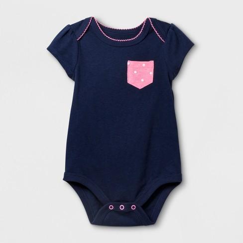 Baby Girls' Short Sleeve Bodysuit - Cat & Jack™ Nightfall Blue Newborn - image 1 of 1
