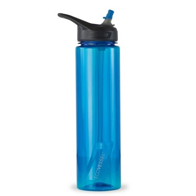EcoVessel 32oz Wave BPA-Free Tritan Plastic Water Bottle with Straw Top