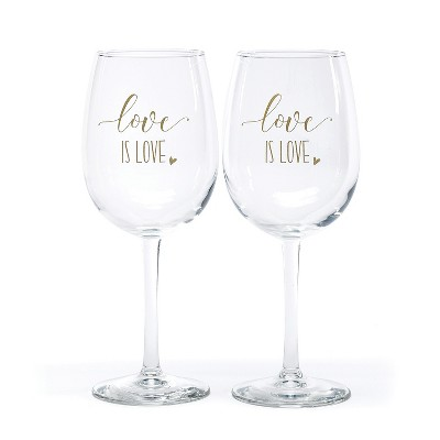 Hortense B. Hetwitt 2ct 'Love is Love' Wine Glasses White
