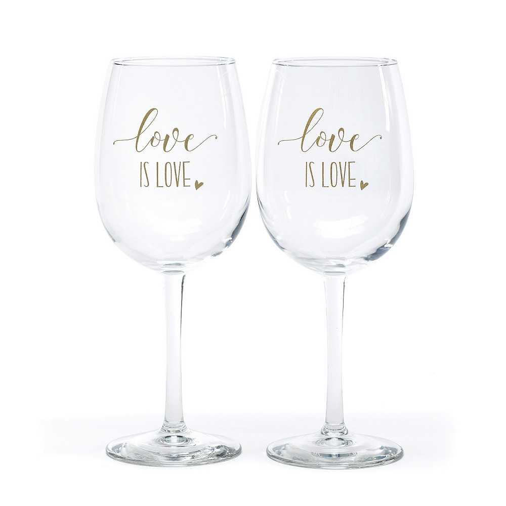 Image of Hortense B. Hetwitt 2ct 'Love is Love' Wine Glasses White, Clear