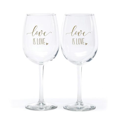 Hortense B. Hetwitt 2ct 'Love is Love' Wine Glasses White - image 1 of 2