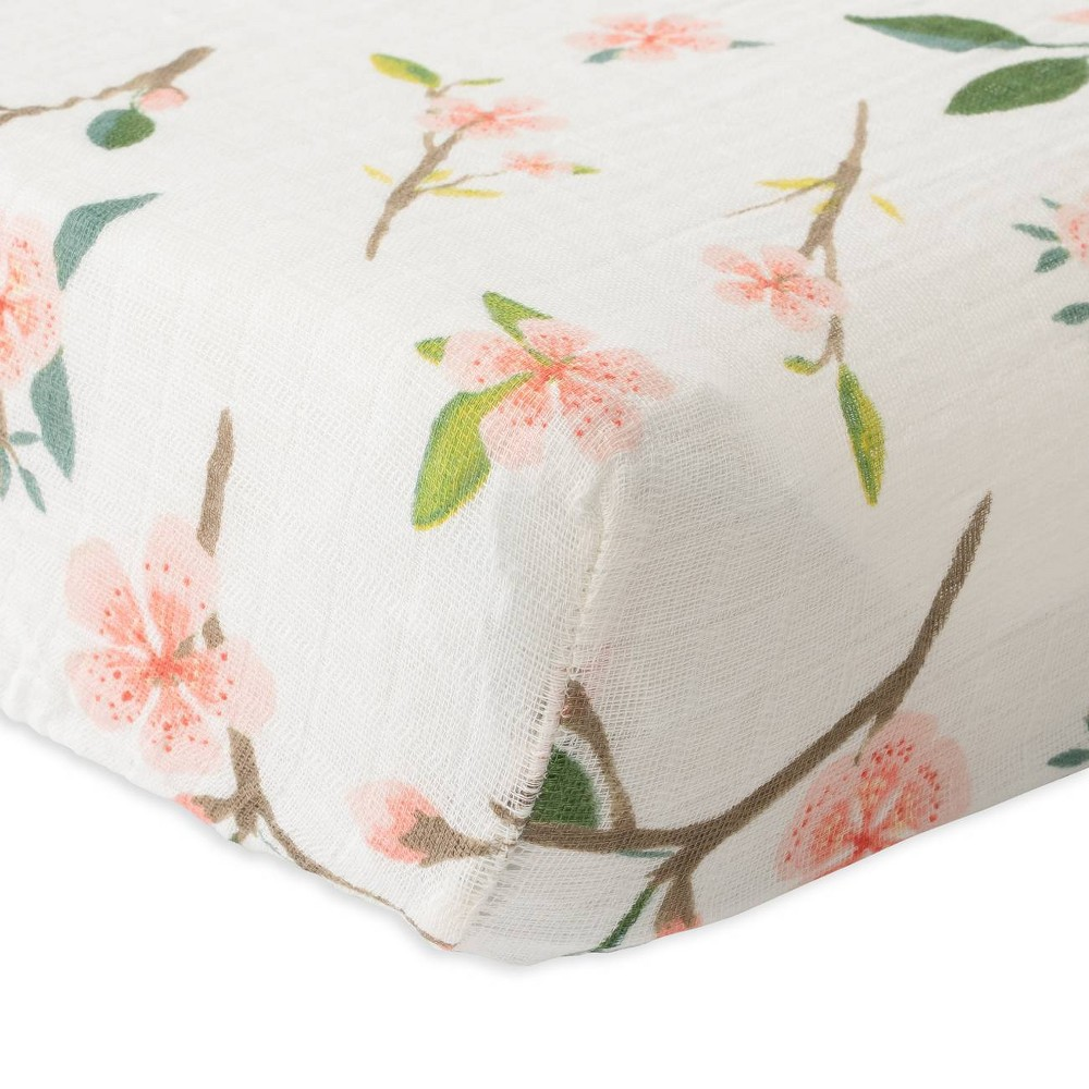 Image of Red Rover Cotton Muslin Changing Pad Cover - Peach Blossom, Pink Blossom