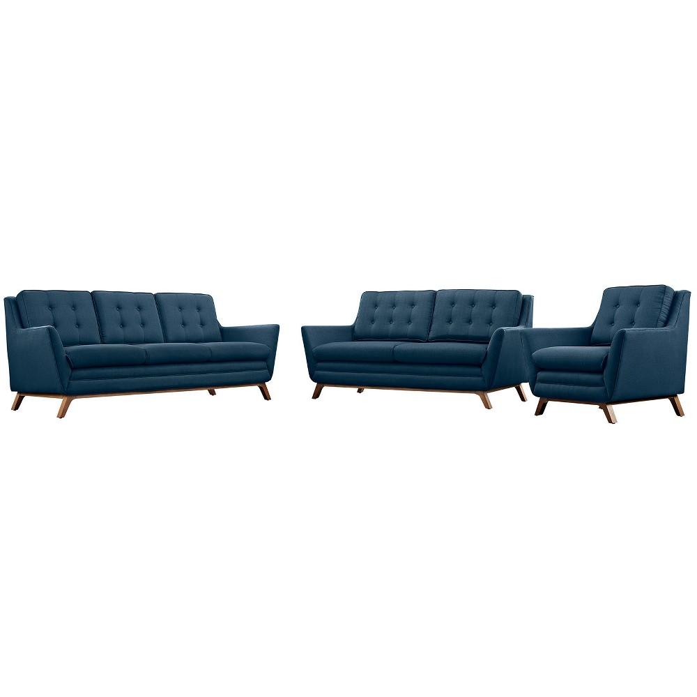 Beguile Living Room Set Upholstered Fabric Set of 3 Azure (Blue) - Modway
