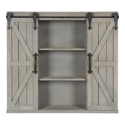 Decorative Wood Wall Storage Cabinet with 2 Sliding Barn Doors Rustic Gray - Kate & Laurel All Things Decor