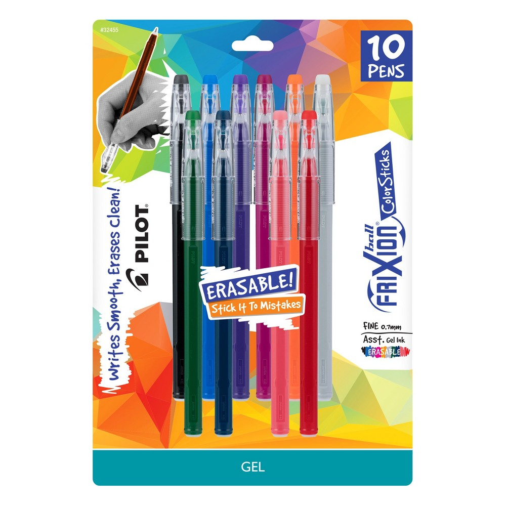 Image of Pilot 10ct FriXion Erasable ColorSticks Gel Ink Pens Fine Point 0.7mm
