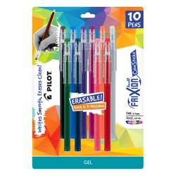 Pilot 10ct FriXion Erasable ColorSticks Gel Ink Pens Fine Point 0.7mm