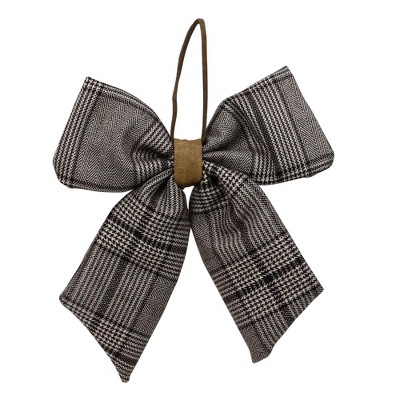 """Northlight 19"""" Black and White Plaid Two Loop Christmas Bow Decoration"""