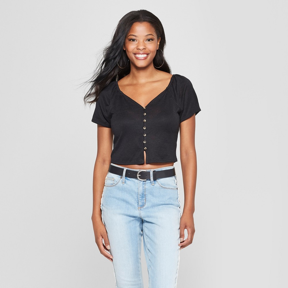 Women's Short Sleeve Button Front Square Neck Cropped Knit Top - Xhilaration Black M