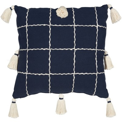 "20""x20"" Woven Check with Tassel Throw Pillow Navy - Mina Victory"