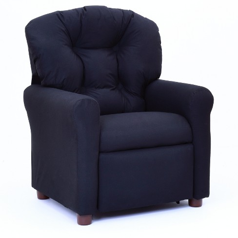 Remarkable Kids Traditional Reclining Chair Rich Black Microfiber The Crew Furniture Onthecornerstone Fun Painted Chair Ideas Images Onthecornerstoneorg
