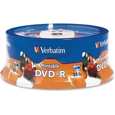 DVD-R 4.7GB 16X White Inkjet Printable, Hub Printable - 25pk Spindle - White Inkjet Printable, Hub Printable - 25pk Spindle