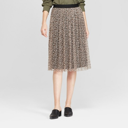 Women's Animal Print Pleated Tulle Midi Skirt - A New Day™ Beige - image 1 of 3