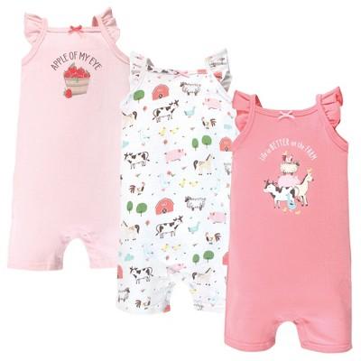 Hudson Baby Infant Girl Cotton Rompers, Girl Farm Animals