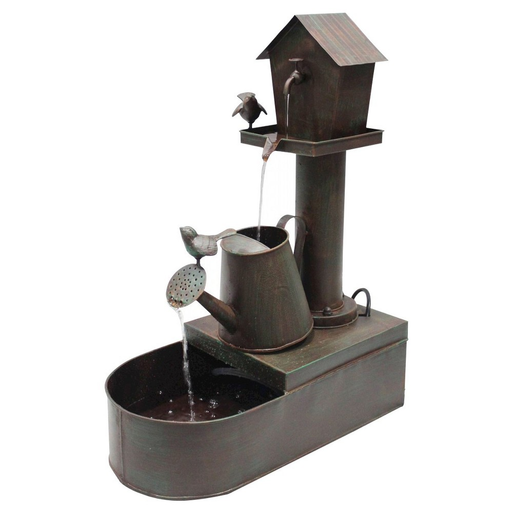 "Image of ""Alpine Corporation 24"""" Birdhouse Into Watercan Floor Fountain - Bronze"""