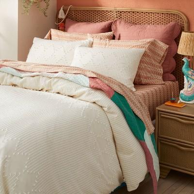 Diamond Clipped Duvet Cover & Sham Set Cream - Opalhouse™ designed with Jungalow™