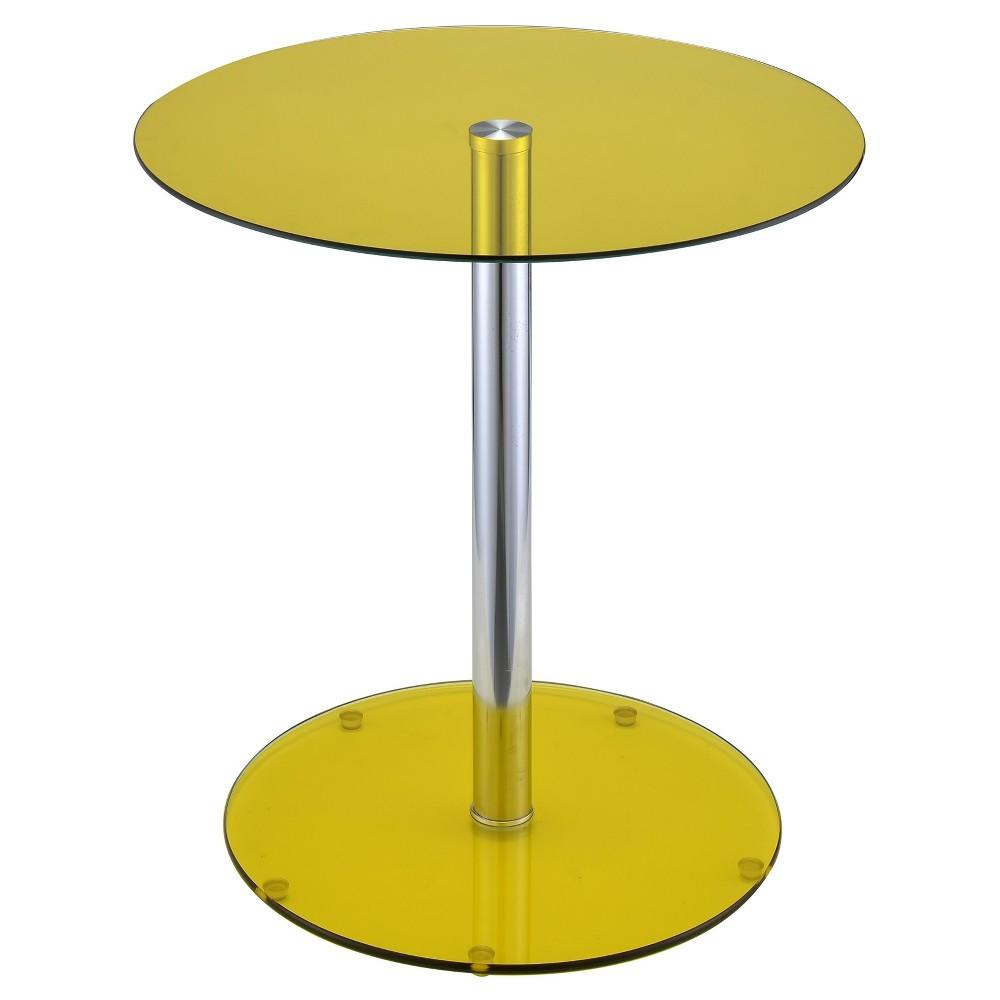 End Table Yellow Chrome, Yellow & Chrome