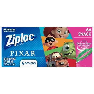 Ziploc Snack Bags featuring Disney and Pixar Designs - 66ct