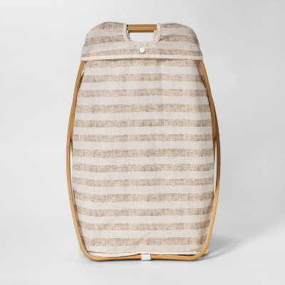 X-Framed Wood Striped Hamper - Beige - Threshold™