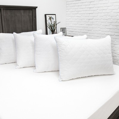 SensorPEDIC Fiber Bed Pillow with Cotton Fabric and Zippered Pillow Cover 4 Pack