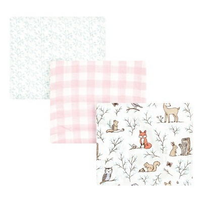 Hudson Baby Infant Girl Cotton Muslin Swaddle Blankets, Pink Enchanted Forest, 3-Pack