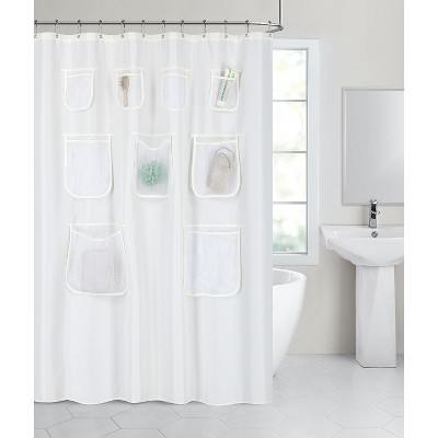 GoodGram Fabric Shower Curtain Liners With Mesh Pockets