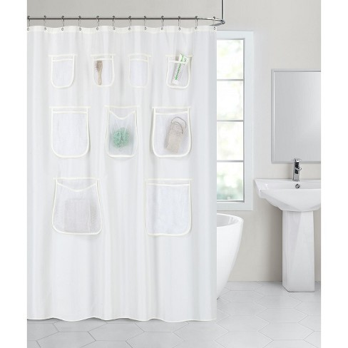 GoodGram Fabric Shower Curtain Liners With Mesh Pockets - image 1 of 4