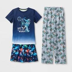 Boys' Graphic Print 3pc Pajama Set - Cat & Jack™ Blue/Gray