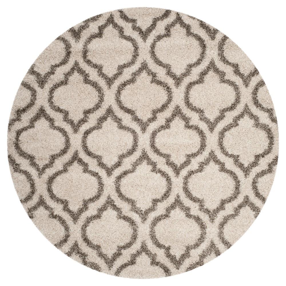 Ivory/Gray Geometric Shag and Flokati Loomed Round Area Rug 7' - Safavieh