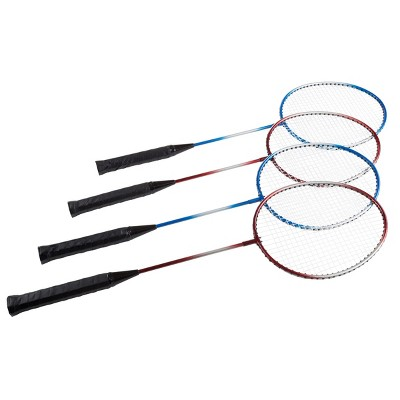 Toy Time Outdoor Badminton Game Set - Includes Racquets, Shuttlecocks, Net, Ground Anchors, and Carrying Case