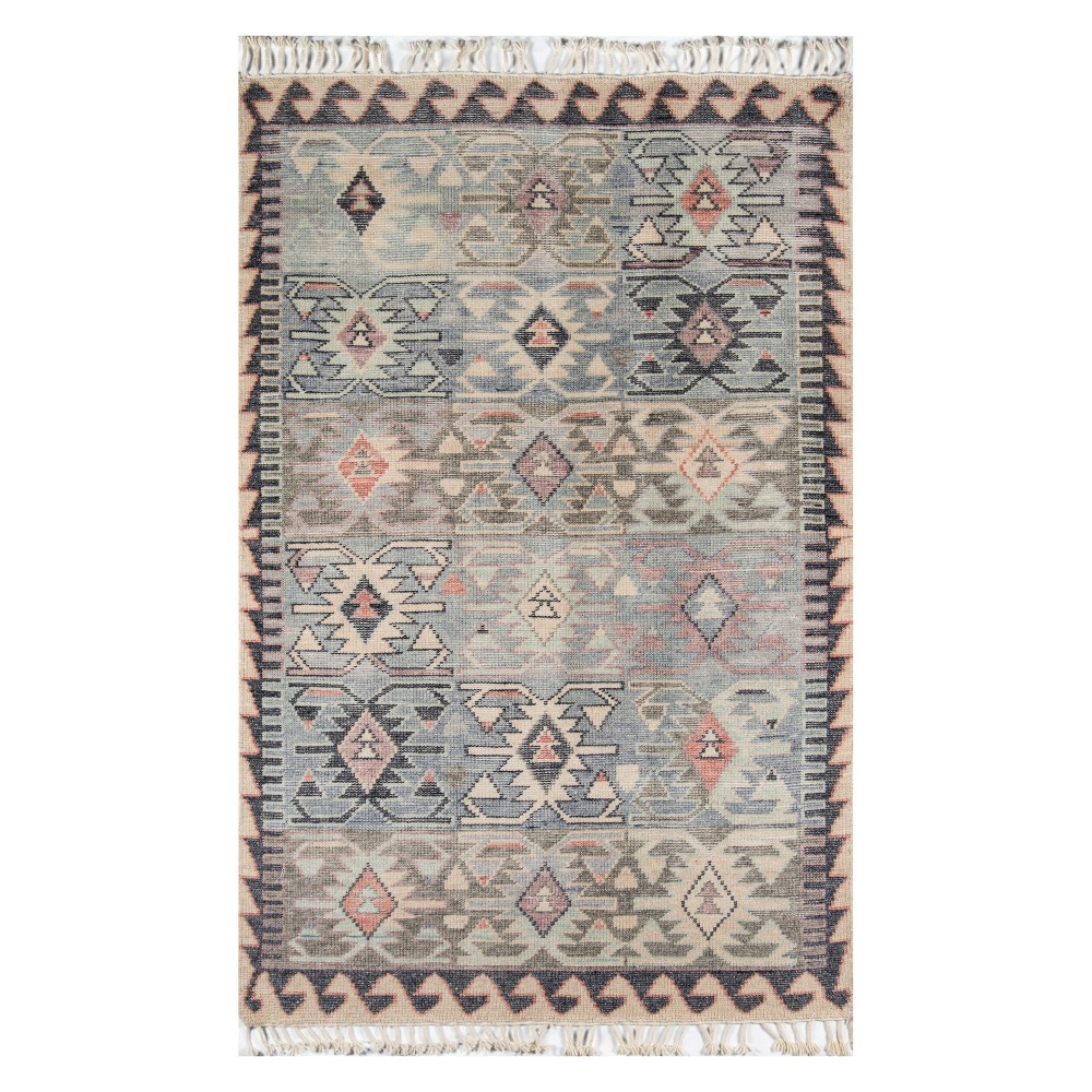 8'X11' Tribal Design Knotted Area Rug Blue - Momeni