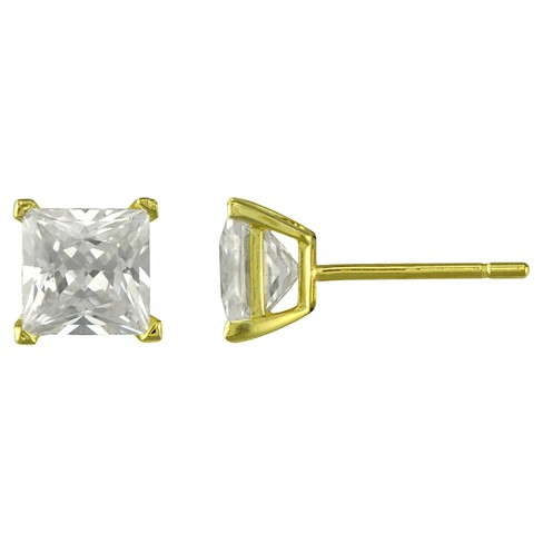 Gold Plated Square Cubic Zirconia Stud Earring - 6mm - image 1 of 1
