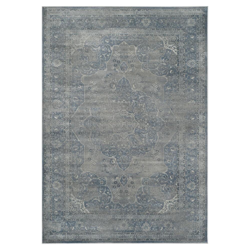 Light Blue/Light Gray Abstract Loomed Area Rug - (6'7
