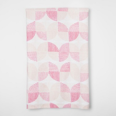 White And Pink Geometric Kitchen Towel - Project 62™