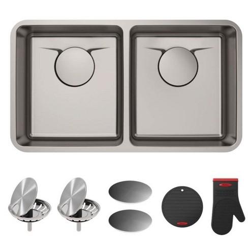 Kraus Dex Series 33 Inch Undermount Double Bowl Stainless Steel Kitchen Sink