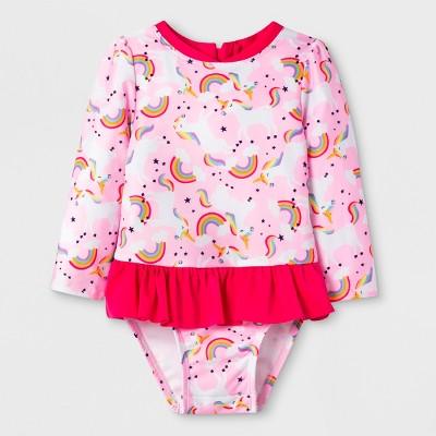 Baby Girls' Long Sleeve Zip Rash Guard Set - Cat & Jack™ Pink 18M